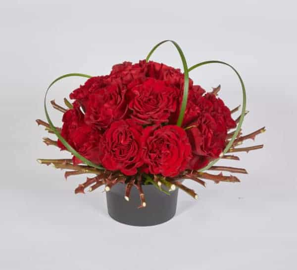 Red Heart Flare Valentine Floral Centerpiece