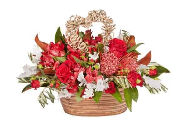 Red Rust Pot Valentine Floral Arrangement