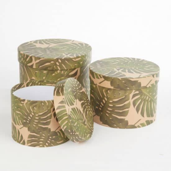 Round Lined Hat Boxes (Set Of 3)