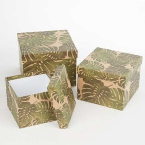 Square Lined Hat Box (Set of 3)