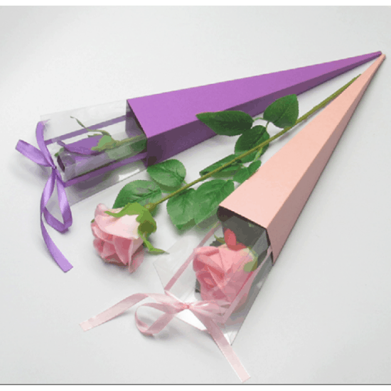 FLOWER BOX SINGLE ROSE 42cm