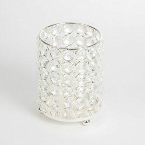 Crystal Cylinder Vase – Silver and Crystals