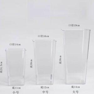 square plastic transparent flower tub2